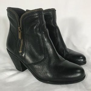 Sam Edelman Linden Black Leather Zip Ankle Bootie
